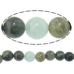 Beads gjelbër Stone Flokët, Stone e gjelbër e flokeve, Round, natyror, 10mm, : 2mm, :15Inç, 10Fillesat/Shumë,  Shumë