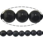 Schwarze Stein Perlen, schwarzer Stein, rund, natürlich, 6mm, Bohrung:ca. 0.8mm, Länge:ca. 15 ZollInch, 10SträngeStrang/Menge, ca. 60PCs/Strang, verkauft von Menge
