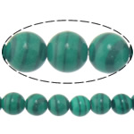 Beads malakit, Round, natyror, 6mm, : 1.2mm, :15.8Inç, 20Fillesat/Shumë,  Shumë