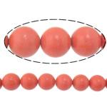 Beads Natyrore Coral, Coral sintetike, Round, sintetik, i kuq, 14mm, : 1.2mm, :15Inç, 10Fillesat/Shumë,  Shumë
