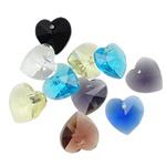 Crystal Pendants, Kristal, Zemër, ngjyra të përziera, 14x14x7.50mm, : 1mm, 10PC/Qese,  Qese