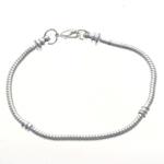 Messing European Armband, Silberfarbe, frei von Nickel, Blei & Kadmium, 3mm, Länge:7 ZollInch, 10SträngeStrang/Tasche, verkauft von Tasche