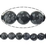 Snowflake Beads xham vullkanik, Snowflake Obsidian, Round, natyror, i importuar, 12mm, : 2mm, :15.8Inç, 5Fillesat/Shumë,  Shumë