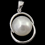 Pendants Pearl ujërave të ëmbla, Pearl kulturuar ujërave të ëmbla, with 925 Sterling Silver, Lot, Platinum kromuar, e bardhë, 12.50x18x8.60mm, : 3x5mm, 5PC/Shumë,  Shumë
