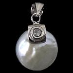 Pendants Pearl ujërave të ëmbla, Pearl kulturuar ujërave të ëmbla, with Kub kub & 925 Sterling Silver, Round Flat, Platinum kromuar, e bardhë, 17x13x6.50mm, : 3.5mm, 5PC/Shumë,  Shumë