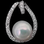 Pendants Pearl ujërave të ëmbla, Pearl kulturuar ujërave të ëmbla, with Kub kub & 925 Sterling Silver, Round, Platinum kromuar, e bardhë, 16.50x21.50x10mm, : 4.5mm, 5PC/Shumë,  Shumë