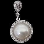 Pendants Pearl ujërave të ëmbla, Pearl kulturuar ujërave të ëmbla, with Kub kub & 925 Sterling Silver, Round Flat, Platinum kromuar, e bardhë, 14x14x9mm, : 4mm, 5PC/Shumë,  Shumë