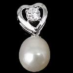 Pendants Pearl ujërave të ëmbla, Pearl kulturuar ujërave të ëmbla, with Kub kub & 925 Sterling Silver, Lot, Platinum kromuar, e bardhë, 8.50x20x8mm, : 2mm, 5PC/Shumë,  Shumë