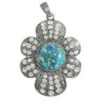 Varëse Bruz, Bruz sintetike, Lule, me diamant i rremë, 36x46x7mm, : 4x6mm, 10PC/Shumë,  Shumë