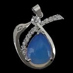 Deti Pendants opal, Tunxh, Kafshë, ngjyrë platin praruar, me diamant i rremë, dritë blu, 28.50x28.50x6.50mm, : 4x6mm, 10PC/Shumë,  Shumë