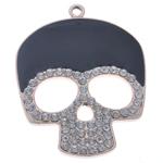 Pendants Skull Alloy zink, Kafkë, Ngjyra antike argjendi praruar, me diamant i rremë, e zezë, , nikel çojë \x26amp; kadmium falas, 54x41x4mm, : 3mm, 10PC/Qese,  Qese