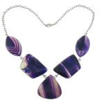 Agat Gjerdan, Purple agat, Shape Tjera, natyror, shirit, 56.2x24.5x7.5mm, 52x31x7.5mm, 37.5x39x7.8mm, : 21.6Inç,  21.6Inç,