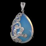 Deti Pendants opal, Tunxh, Lot, ngjyrë platin praruar, me diamant i rremë, dritë blu, 26x36x11mm, : 4x6mm, 10PC/Shumë,  Shumë