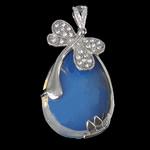 Deti Pendants opal, Deti Opal, with Tunxh, Lot, ngjyrë platin praruar, me diamant i rremë, dritë blu, 26.50x42x11mm, : 4x6mm, 10PC/Shumë,  Shumë