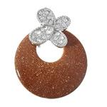 Pendants Goldstone, Round Flat, ngjyrë platin praruar, me diamant i rremë, 40x52x5mm, : 4x6mm, 10PC/Shumë,  Shumë