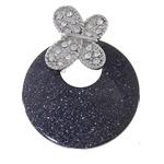 Blue Pendants Goldstone, Blue Goldstone, with Tunxh, Round Flat, ngjyrë platin praruar, me diamant i rremë, 40x52x5mm, : 4x6mm, 10PC/Shumë,  Shumë