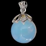 Deti Pendants opal, Tunxh, Round, ngjyrë platin praruar, dritë blu, 18x20mm, : 4x6mm, 20PC/Shumë,  Shumë