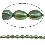 Barok Beads kulturuar Pearl ujërave të ëmbla, Pearl kulturuar ujërave të ëmbla, i lyer, e gjelbër, 5-6mm, : 1mm, :15.4Inç,  15.4Inç,