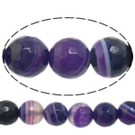 Natürliche violette Achat Perlen, Violetter Achat, rund, Maschine facettiert & Streifen, 12mm, Bohrung:ca. 1-1.5mm, Länge:15 ZollInch, 5SträngeStrang/Menge, verkauft von Menge