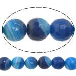 Beads Blue Natyrore agat, Blue agat, Round, asnjë, makinë faceted & shirit, 14mm, : 1-1.5mm, :15Inç, 5Fillesat/Shumë,  Shumë