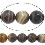Agat Beads, Agat Kafe, Round, asnjë, makinë faceted & shirit, 10mm, : 1-1.5mm, :15Inç, 5Fillesat/Shumë,  Shumë