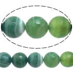 Natürliche grüne Achat Perlen, Grüner Achat, rund, Maschine facettiert & Streifen, 6mm, Bohrung:ca. 0.8-1mm, Länge:ca. 15 ZollInch, 10SträngeStrang/Menge, verkauft von Menge