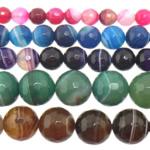 Agat Beads, Agat përziera, Round, asnjë, shirit, 12mm, : 1-1.5mm, :15Inç, 5Fillesat/Shumë,  Shumë