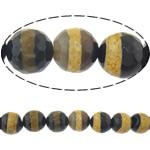 Natyrore tibetian agat Beads DZI, Round, asnjë, makinë faceted, 16mm, : 2mm, :14Inç, 5Fillesat/Shumë,  Shumë