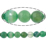 Beads Dashuri Green agat, Jeshile agat, Round, asnjë, makinë faceted & shirit, 8mm, : 2mm, :15Inç, 5Fillesat/Shumë,  Shumë