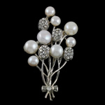 Pearl ujërave të ëmbla karficë, Pearl kulturuar ujërave të ëmbla, with Tunxh, Lule, e bardhë, 41x63x15mm,  PC