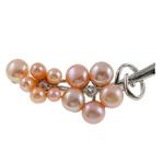 Pearl ujërave të ëmbla karficë, Pearl kulturuar ujërave të ëmbla, with Tunxh, Gjethe, rozë, 51x22x12mm,  PC