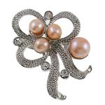 Pearl ujërave të ëmbla karficë, Pearl kulturuar ujërave të ëmbla, with Tunxh, Lule, rozë, 37x41x17mm,  PC