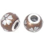 Porcelani Beads European, Rondelle, i praruar, core bronzi të dyfishtë pa karrem, ngjyrë kafe, 14x11mm, : 5mm, 50PC/Qese,  Qese