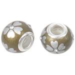 Porcelani Beads European, Rondelle, i praruar, core bronzi të dyfishtë pa karrem, i verdhë, 14x11mm, : 5mm, 50PC/Qese,  Qese