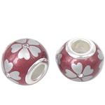 Porcelani Beads European, Rondelle, i praruar, core bronzi të dyfishtë pa karrem, kuqe të thellë, 14x11mm, : 5mm, 50PC/Qese,  Qese