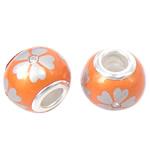 Porcelani Beads European, Rondelle, i praruar, core bronzi të dyfishtë pa karrem, portokall, 14x11mm, : 5mm, 50PC/Qese,  Qese