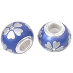 Porcelani Beads European, Rondelle, i praruar, core bronzi të dyfishtë pa karrem, 14x11mm, : 5mm, 50PC/Qese,  Qese