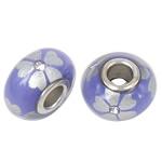 Porcelani Beads European, Rondelle, i praruar, core bronzi të dyfishtë pa karrem, vjollcë, 16x9mm, : 5mm, 50PC/Qese,  Qese