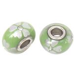 Porcelani Beads European, Rondelle, i praruar, core bronzi të dyfishtë pa karrem, dritë bathë jeshile, 16x9mm, : 5mm, 50PC/Qese,  Qese