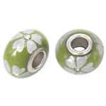 Porcelani Beads European, Rondelle, i praruar, core bronzi të dyfishtë pa karrem, e gjelbër, 16x9mm, : 5mm, 50PC/Qese,  Qese