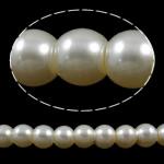 Glass Beads Pearl, Xham, Round, asnjë, bezh, 6mm, : 1-1.5mm, :32.3Inç, 10Fillesat/Qese,  Qese