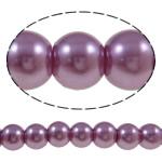 Glass Beads Moda, Xham, Round, asnjë, purpurtë drita, 8mm, : 1-1.5mm, : 31.5Inç, 10Fillesat/Qese,  Qese