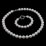 Natyrore kulturuar Pearl ujërave të ëmbla bizhuteri Sets, Pearl kulturuar ujërave të ëmbla, Round, natyror, e bardhë, 11-12mm, :16.5Inç,  6Inç,  I vendosur