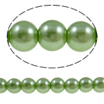 Glass Beads Moda, Xham, Round, asnjë, e gjelbër, 10mm, : 1-1.5mm, : 30.7Inç, 10Fillesat/Qese,  Qese