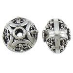 Beads aliazh zink Hollow, Alloy zink, Round Flat, Ngjyra antike argjendi praruar, asnjë, asnjë, , nikel çojë \x26amp; kadmium falas, 16x12.80mm, : 3.2mm, 100PC/Qese,  Qese