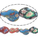 Beads polimer balta, Polymer Clay, Kthesë, asnjë, asnjë, ngjyra të përziera, 21x17x8mm, : 1.2mm, : 16.5Inç, 10Fije floku/Shumë,  Shumë