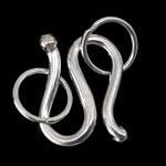 Kapje 925 Sterling Silver Hook S, Shape Tjera, argjend praruar vërtetë, asnjë, argjend, 6x8x1mm, : 3mm, 30Sets/Shumë,  Shumë