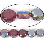 Imitim Swarovski Crystal Beads, Kristal, Round Flat, gjysmë-kromuar, imitim kristal Swarovski, rubin, 12x12x7mm, : 1.2mm, 300PC/Shumë,  Shumë