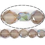 Imitim Swarovski Crystal Beads, Kristal, Round Flat, gjysmë-kromuar, imitim kristal Swarovski, Hije Crystal Bronze, 12x12x7mm, : 1.2mm, 300PC/Shumë,  Shumë