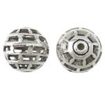 Beads bizhuteri Alloy zink, Round, Ngjyra antike argjendi praruar, i uritur, asnjë, , nikel çojë \x26amp; kadmium falas, 15mm, : 1.5mm, 100PC/Qese,  Qese